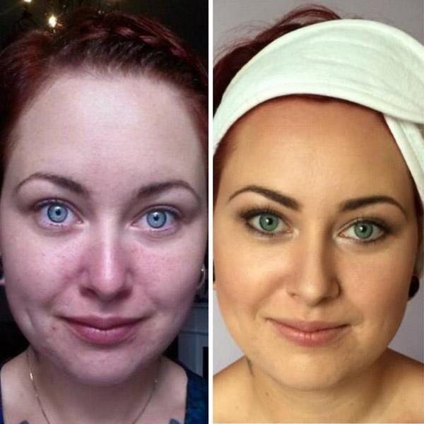 makeup før og etter